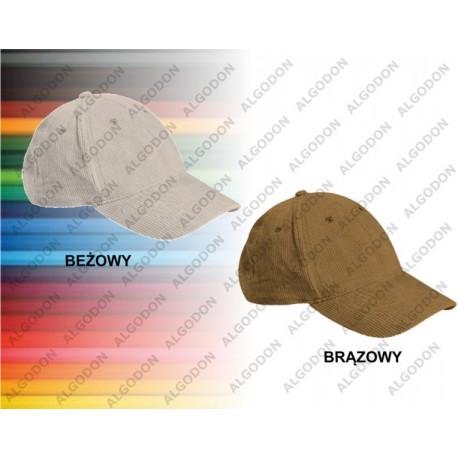 czapka z daszkiem sztruksowa brązowa gruba MEXICO