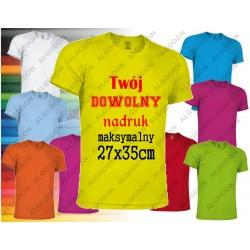 Żółta fluo Koszulka sportowa oddychająca termoaktywna T-shirt z własnym indywidualnym nadrukiem