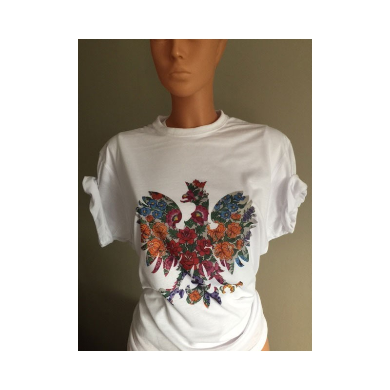 22aa036e7 T-shirt Koszulka z orłem ORZEŁ ludowy kwiaty patriotyczna FOLK - Algodon