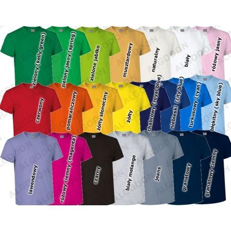 T-shirt koszulka dziecięca gładka gruba bawełna 180 g/m2 Racing podkoszulek na WF W-F grupy taneczne taniec hajdasz koszulki dzi
