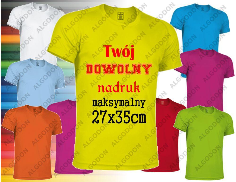 0e510415b64d25 Koszulka z nadrukiem z dwóch stron sportowa oddychająca termoaktywna T-shirt  z własnym indywidualnym nadrukiem - Algodon