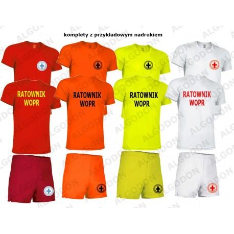 Komplet spodenki i T-shirt koszulka oddychająca RATOWNIK WOPR rozmiary dziecięce i dorosłe VALENTO