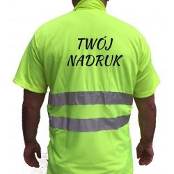Koszulka POLO z nadrukiem odblaskowa ostrzegawcza robocza z normą EN471