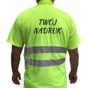 Koszulka POLO odblaskowa z nadrukiem LOGO napisem ostrzegawcza robocza z normą EN471