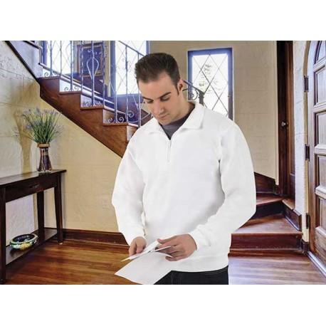 Biała Bluza polo długi rękaw z zamkiem  WOOD VALENTO