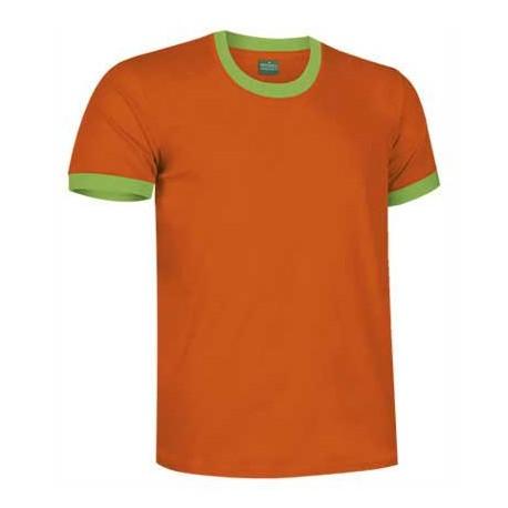 pomarańczowy / zielony T-shirt koszulka dwukolorowa bawełniana z krótkim rękawem COMBI VALENTO
