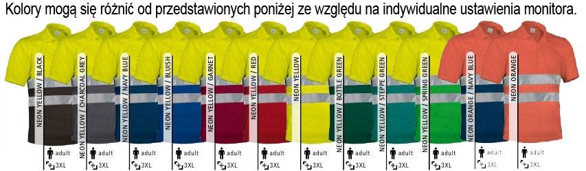 Koszulka POLO odblaskowa ostrzegawcza robocza BHP. Odzież ostrzegawcza EN471